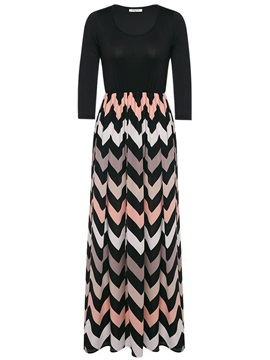 Stripe Patchwork 3/4 Sleeve Maxi Dress
