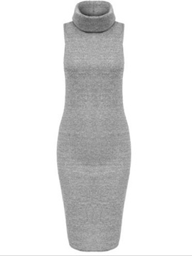 Solid Turtleneck Sleeveless Sweater Dress
