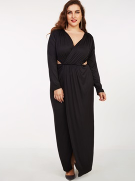 Solid Deep V Long Sleeve Maxi Dress
