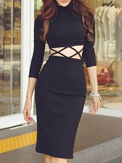 Hollow Solid Color Long Sleeve Day Dress