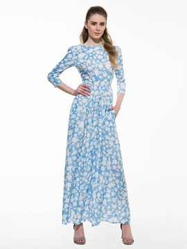 Chic 3/4 Sleeve Print Maxi Dress