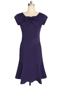 Chic Round Neck Slim Day Dress with Bowknot