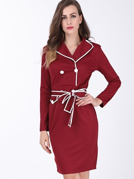Contrast Color Long Sleeve Belt Work Dress