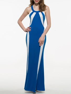 Chic Contrast Color Slim Maxi Dress