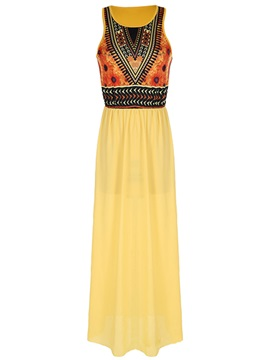 Chic Patchwork Slim Maxi Dress