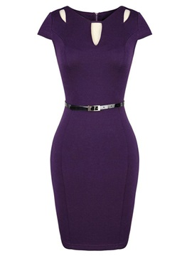 Solid Color V Neck Short Sleeve Work Bodycon Dress