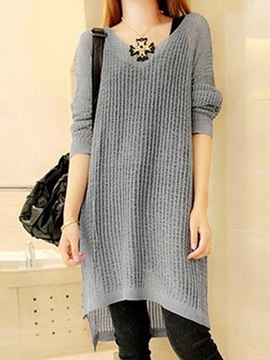 Plain Round Neck Long Sleeve Women's Sweater Dress