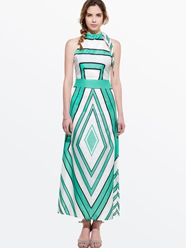 Contrast Color Sleeveless Maxi Dress