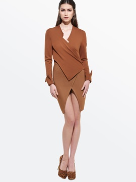 Patchwork Long Sleeve Split Work Bodycon Dress