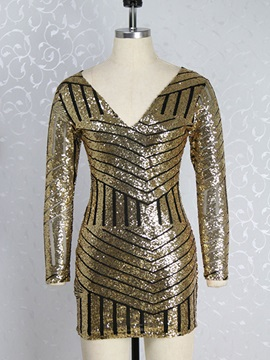 Chic Sequins V Long Sleeve Bodycon Dress