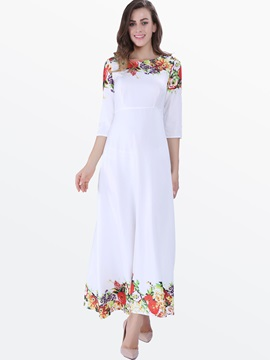 Print 3/4 Sleeve Pastoral Maxi Dress