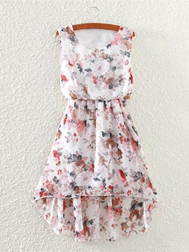 Floral Print High-Low Round Neck Day Dress