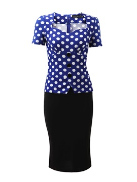 Polka Dots Patchwork Short Sleeve Work Bodycon Dress