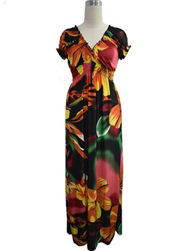 Floral Print Puff Sleeve Short Sleeve Maxi Dress