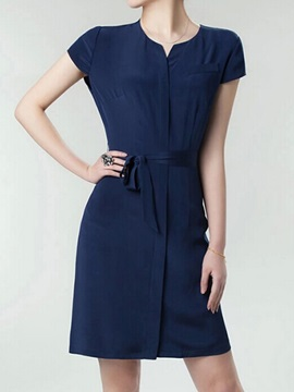 Plain Short Sleeve Belt Day Dress