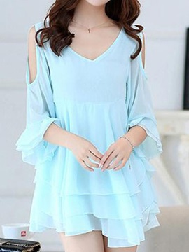 Solid V Hollow Layered Shift Dress