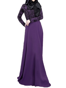 Contrast Lace Patchwork Long Sleeve Maxi Dress