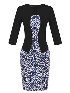 Leopard Two in One OL Work Bodycon Dress