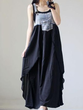 Denim Patchwork Sleeveless Day Dress