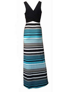 Stripe Patchwork V Sleeveless Maxi Dress