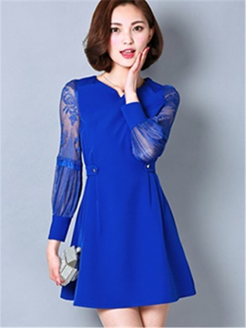 Plain Patchwork V Neck Day Dress