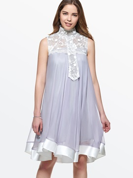 Contrast Lace Patchwork Shift Dress