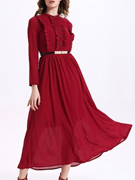 Sisjuly® Solid Color Long Sleeve Maxi Dress