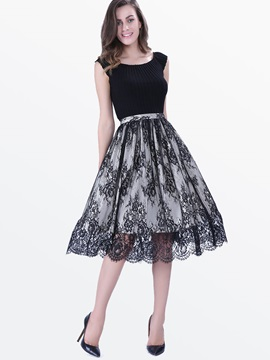 Chic Lace Patchwork Skater Dress