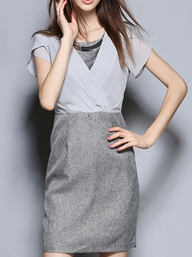 Chic Patchwork Short Sleeve Day Dress