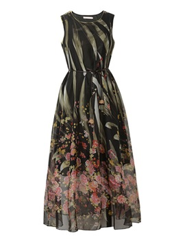 Chic Floral Print Sleeveless Day Dress