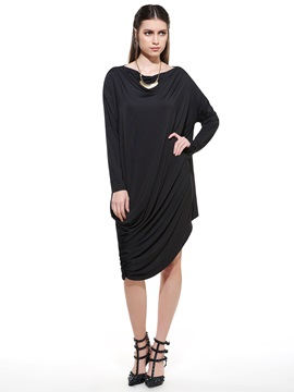 Asymmetric Solid Color Round Neck Day Dress