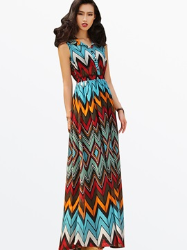 Ethnic Stripe Sleeveless Print Slim Maxi Dress