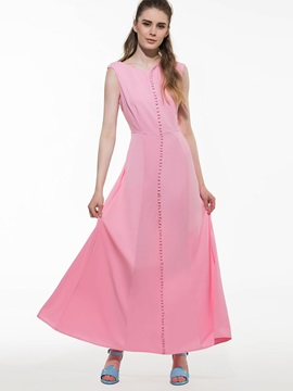 Solid Color Sleeveless Maxi Dress with Buttons