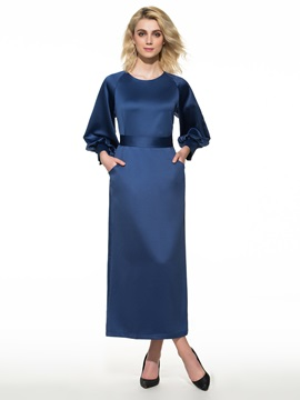 Plain Puff Sleeve Belt Maxi Dress