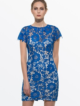 Hollow Round Neck Short Sleeve Lace Dress