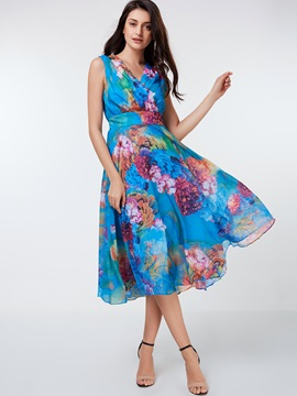 Floral Print Sleeveless V Neck Day Dress