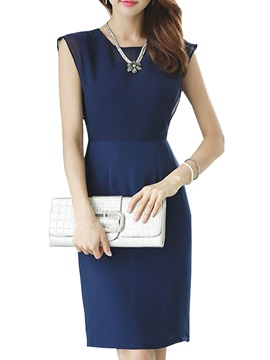 Solid Color Sleeveless Work Dress