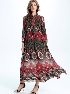 Sisjuly Nine Points Sleeve Print Maxi Dress