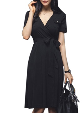 Solid Color V-Neck Lace-Up Work Dress