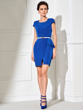 Plain Falbala Short Sleeve Split Work Dress