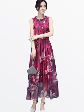Floral Print Chic Round Neck Patchwork Day Dress