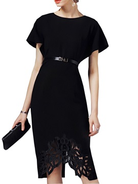 Hollow Short Sleeve Belt Day Dress