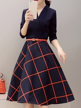 Plaid V-Neck Long Sleeve Ladylike Skater Dress