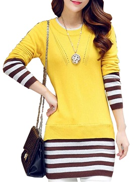 Stripe Double-Layer Fashion Sweater Dress
