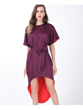 Short Sleeve High-Low Lace-Up Day Dress