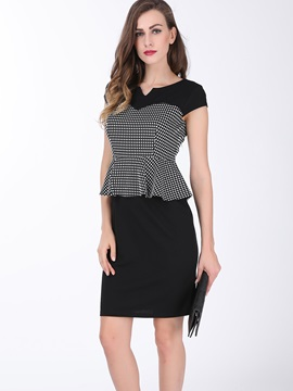 Plaid Falbala V Neck Work Dress