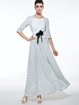 Polka Dots Patchwork Bowknot  Dress