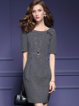 Fashion Polka Dots Half Sleeve Day Dress