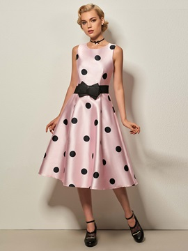 Polka Dots Sleeveless Belt Skater Dress