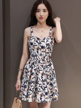 Floral Print Suspenders Backless Day Dress